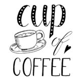 Tasse de thé, café Illustration tirée par la main de croquis sur le fond blanc, éléments de conception Conception de carte lettra illustration libre de droits