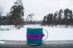 Tasse de thé chaud dans une couverture de knit Photos libres de droits