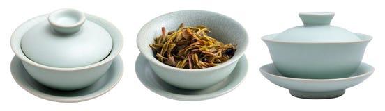 Tasse de thé chinoise de soupière de RU avec l'oolong Photo stock