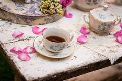 Tasse de thé démodée dans le jardin Images libres de droits