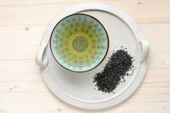 Tasse de thé d'un plat en céramique Image stock