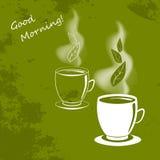 Tasse de thé de tige et de feuilles Photos libres de droits
