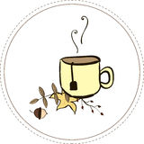 Tasse de thé en automne illustration stock