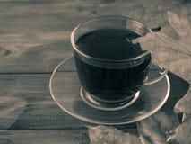 Tasse de thé entourée par des feuilles d'automne Images stock