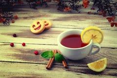 Tasse de thé et d'un biscuit Photo libre de droits