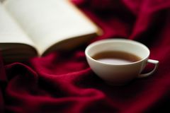 Tasse de thé et d'un livre Images libres de droits