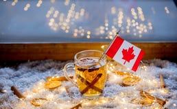Tasse de thé et drapeau de Canada sur la neige et les quirlandes électriques Photos libres de droits