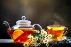 Tasse de thé noir fraîchement brassé, lumière molle chaude, un fond plus foncé image libre de droits