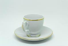 Tasse de thé ou tasse russe de porcelaine de vintage pour le café d'isolement sur le fond blanc Photo stock