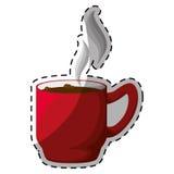 Tasse de thé rouge de café avec la conception de vapeur Images libres de droits