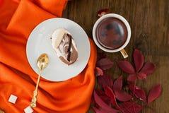 Tasse de thé avec des feuilles d'automne des raisins sauvages Image stock