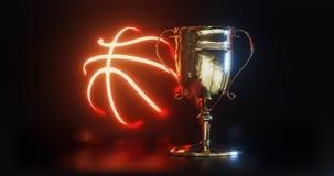 Tasse de trophée d'OR pour l'illustration du basket-ball 3d rendue illustration de vecteur