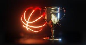 Tasse de trophée d'OR pour le basket-ball 3d illustration libre de droits
