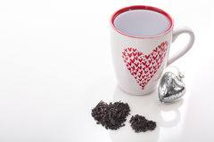 Tasse de valentines de thé Photographie stock libre de droits