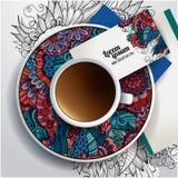 Tasse de vecteur de café, cartes de visite professionnelle de visite Photographie stock libre de droits