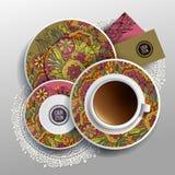 Tasse de vecteur de café, cartes de visite professionnelle de visite Photos stock