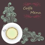 Tasse de vecteur de café sur la vague abstraite Image libre de droits