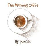 Tasse de vecteur de coffe par des crayons de couleur Photo stock
