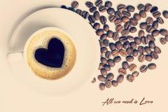 Tasse de vintage de composition de concept d'amour de café Photographie stock