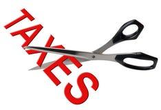 Tasse della riduzione e di taglio di imposta, isolate Immagini Stock Libere da Diritti