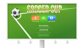 Tasse du football, conception européenne d'affiche d'événement du football sur le panneau d'affichage Ballon de football dans le  Photos libres de droits
