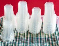 Tasse en plastique claire Images stock