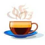 Tasse en verre avec du café chaud illustration stock