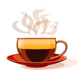 Tasse en verre avec du café chaud Image stock