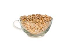 Tasse en verre avec les grains beiges secs d'un pois. image stock