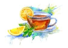 Tasse en verre de thé avec le citron et les feuilles en bon état illustration de vecteur