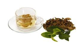 Tasse en verre transparente avec le thé Images stock
