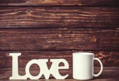 Tasse et amour de mot Photos libres de droits
