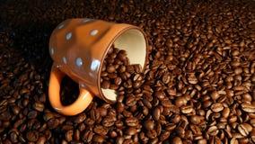 Tasse et grains de café transparents, expresso de café Photos libres de droits