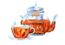 Tasse et théière en verre d'un thé noir illustration stock