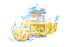 Tasse et théière en verre d'un thé vert illustration de vecteur