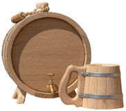 Tasse fabriquée à la main élégante d'isolement de baril et de bière Photographie stock