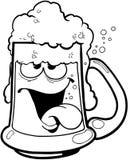 Tasse ivre de vecteur Clipart de bande dessinée de bière Images stock