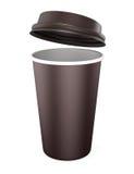 Tasse jetable avec le couvercle ouvert sur un fond blanc Maquette f illustration stock