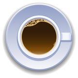 Tasse Kaffee Ansicht von der Oberseite Stockfotos