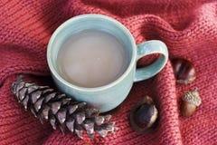Tasse Kaffee auf Ahornblättern Draufsicht, Herbsthintergrund stockbilder