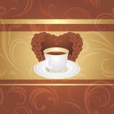 Tasse Kaffee auf dem dekorativen Hintergrund Lizenzfreie Stockfotos