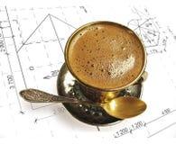 Tasse Kaffee auf der Zeichnung Stockbild
