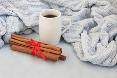 Tasse Kaffee auf einem Hintergrund des weichen blauen Plaids lizenzfreies stockbild