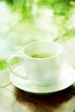 Tasse Kaffee auf Holztisch mit grünem Garten bokeh Lizenzfreies Stockfoto