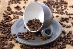Tasse Kaffee auf Leinwand Stockfoto