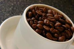Tasse Kaffee-Bohnen Stockfoto
