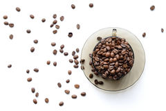 Tasse Kaffee-Bohnen - Foto auf Lager Lizenzfreie Stockbilder
