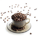 Tasse Kaffee-Bohnen - Foto auf Lager Lizenzfreies Stockfoto