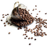 Tasse Kaffee-Bohnen - Foto auf Lager Lizenzfreies Stockbild