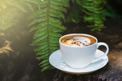 Tasse Kaffee-Cappuccinokunst auf Holzfußboden mit grünem Urlaub fram Lizenzfreie Stockfotos